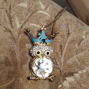 Betsey Johnson  owl necklace with large crystal